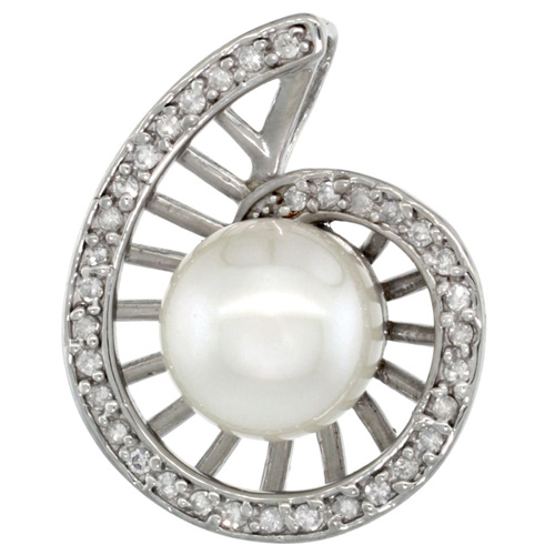 14k White Gold 18 in. Thin Chain & Swirl Pearl Pendant w/ 0.19 Carat Brilliant Cut ( H-I Color; VS2-SI1 Clarity ) Diamonds & 9mm White Pearl
