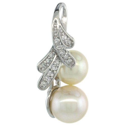 14k White Gold 18 in. Thin Chain & Ribbon Pearl Pendant w/ 0.14 Carat Brilliant Cut ( H-I Color; VS2-SI1 Clarity ) Diamonds & 8mm White Pearl