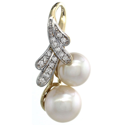 14k Gold 18 in. Thin Chain & Ribbon Pearl Pendant w/ 0.14 Carat Brilliant Cut ( H-I Color; VS2-SI1 Clarity ) Diamonds & 8mm White Pearl