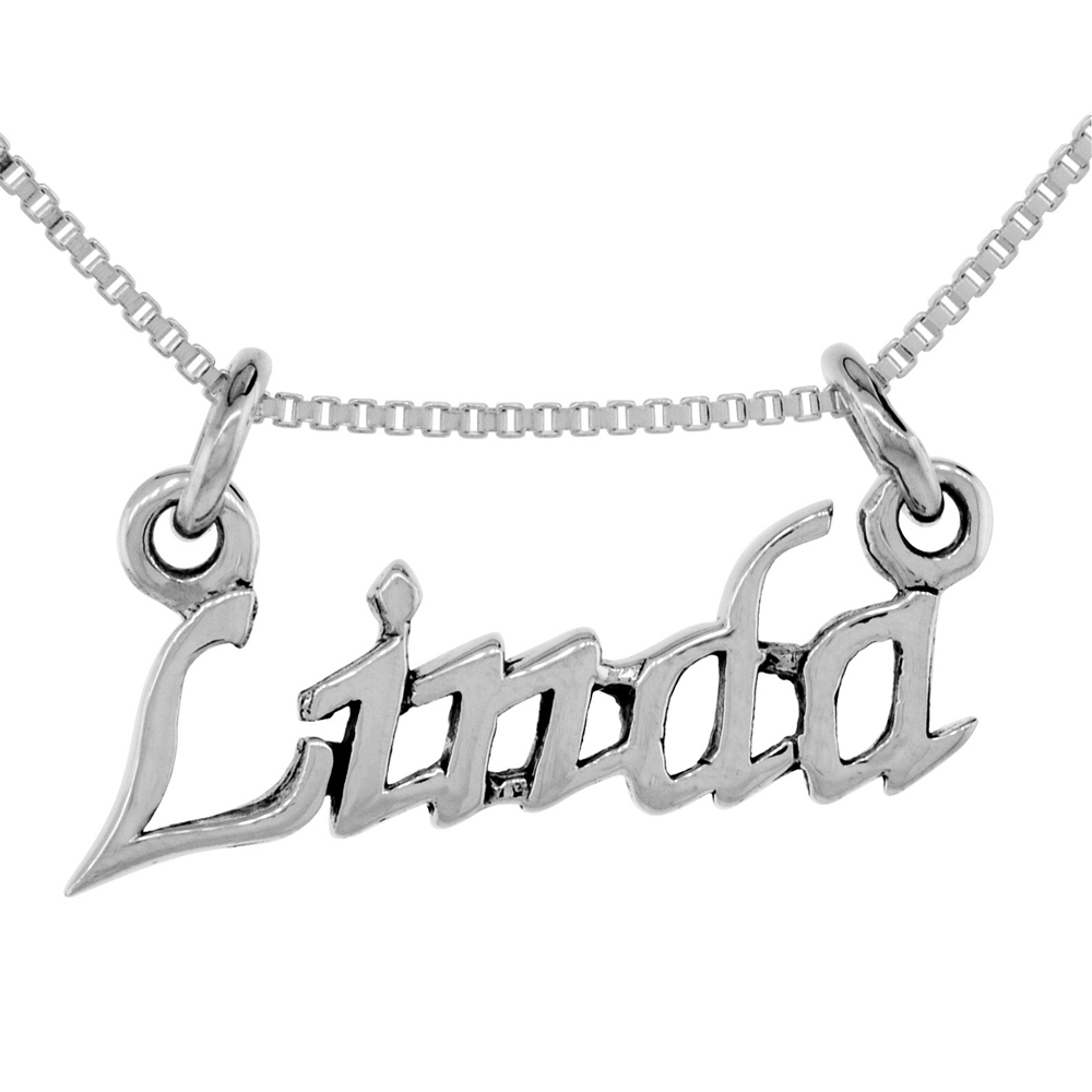 Sterling Silver Name Necklace Linda 3/8 Inch, 17 Inches Long