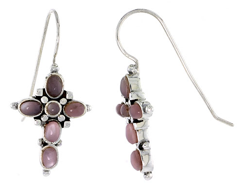 "Sterling Silver Oxidized Cross Earrings, w/ 2mm Round & Five 4 x 3 mm Oval-shaped Pink Mother of Pearls, 7/8"" (23 mm) tall"