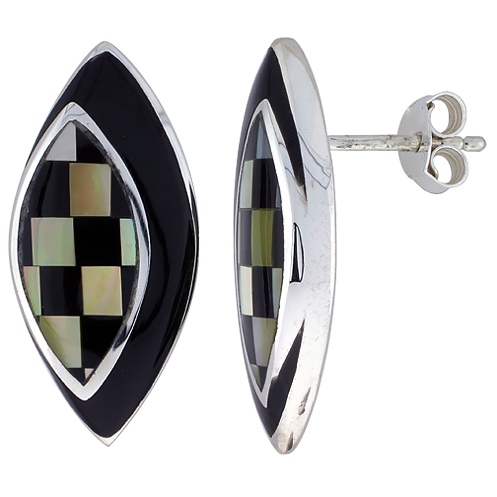 Sterling Silver Natural Black Stripe Shell Checkerboard Earrings Marquise, 7/16 inch wide