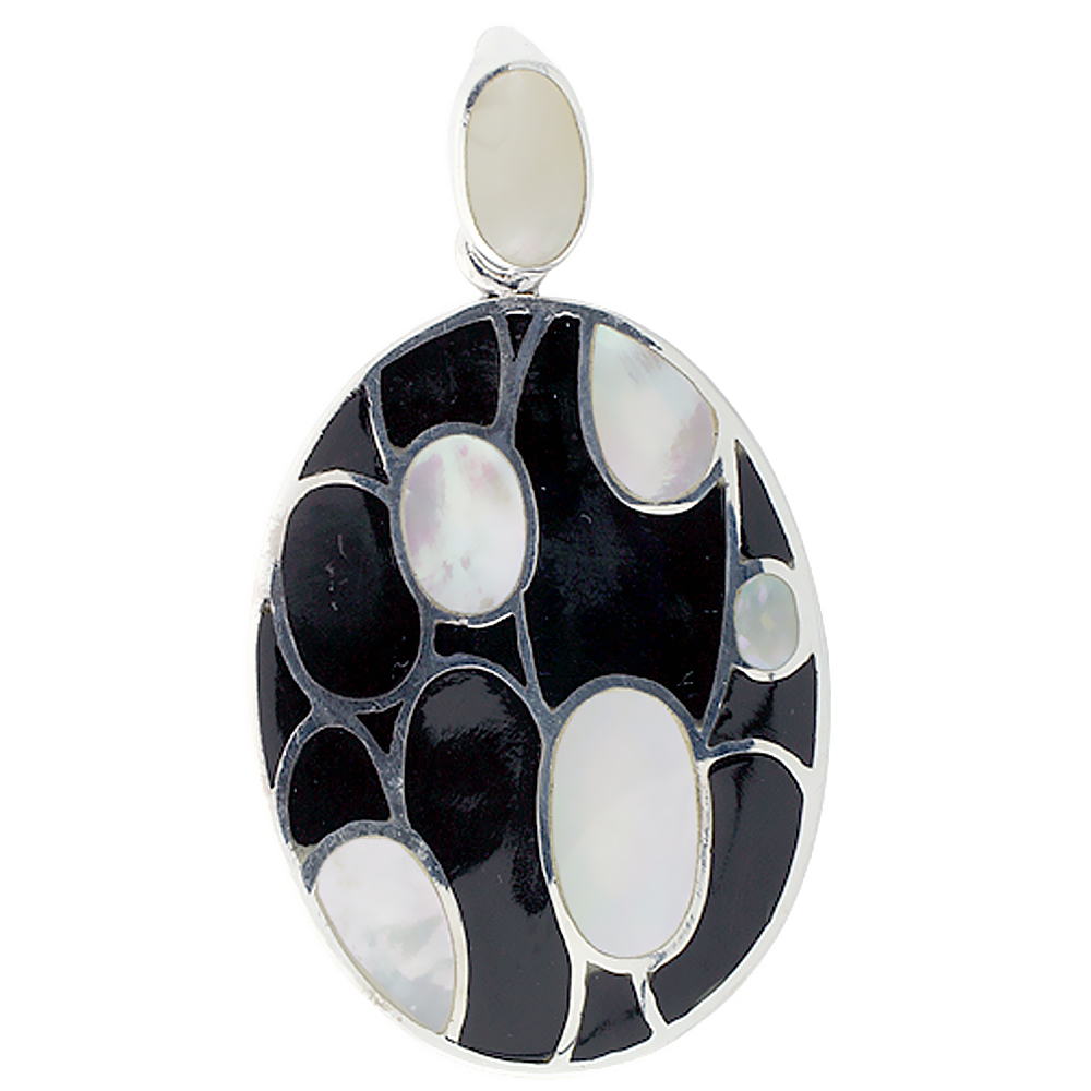 Sterling Silver Natural Shell Black and White Pendant Oval, 1 1/8 inch wide