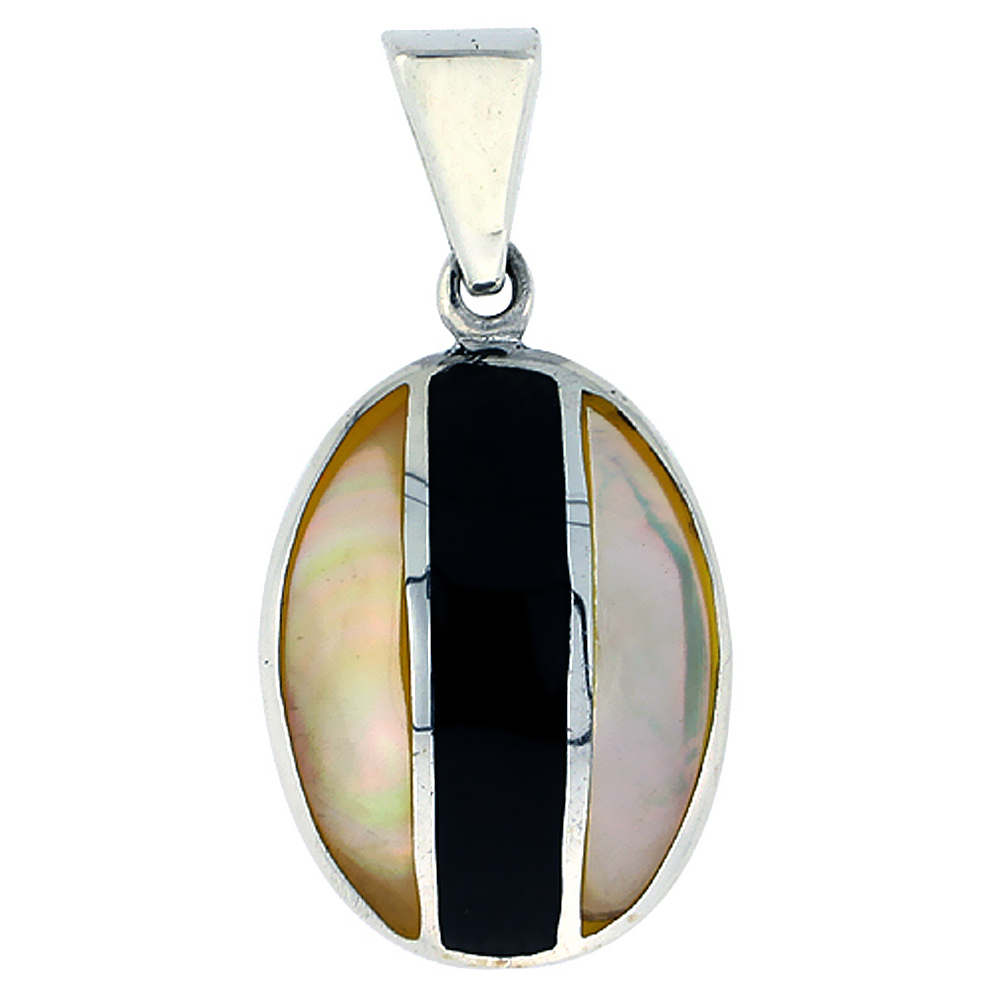Sterling Silver Natural Shell Pendant Oval Black Stripe, 9/16 inch wide