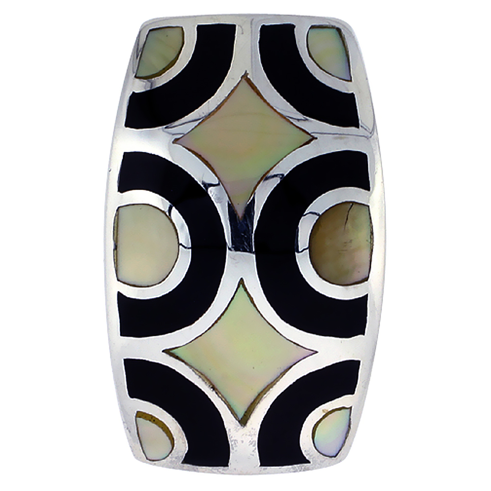 Sterling Silver Geometric Black and White Natural Shell Pendant, 11/16 inch wide