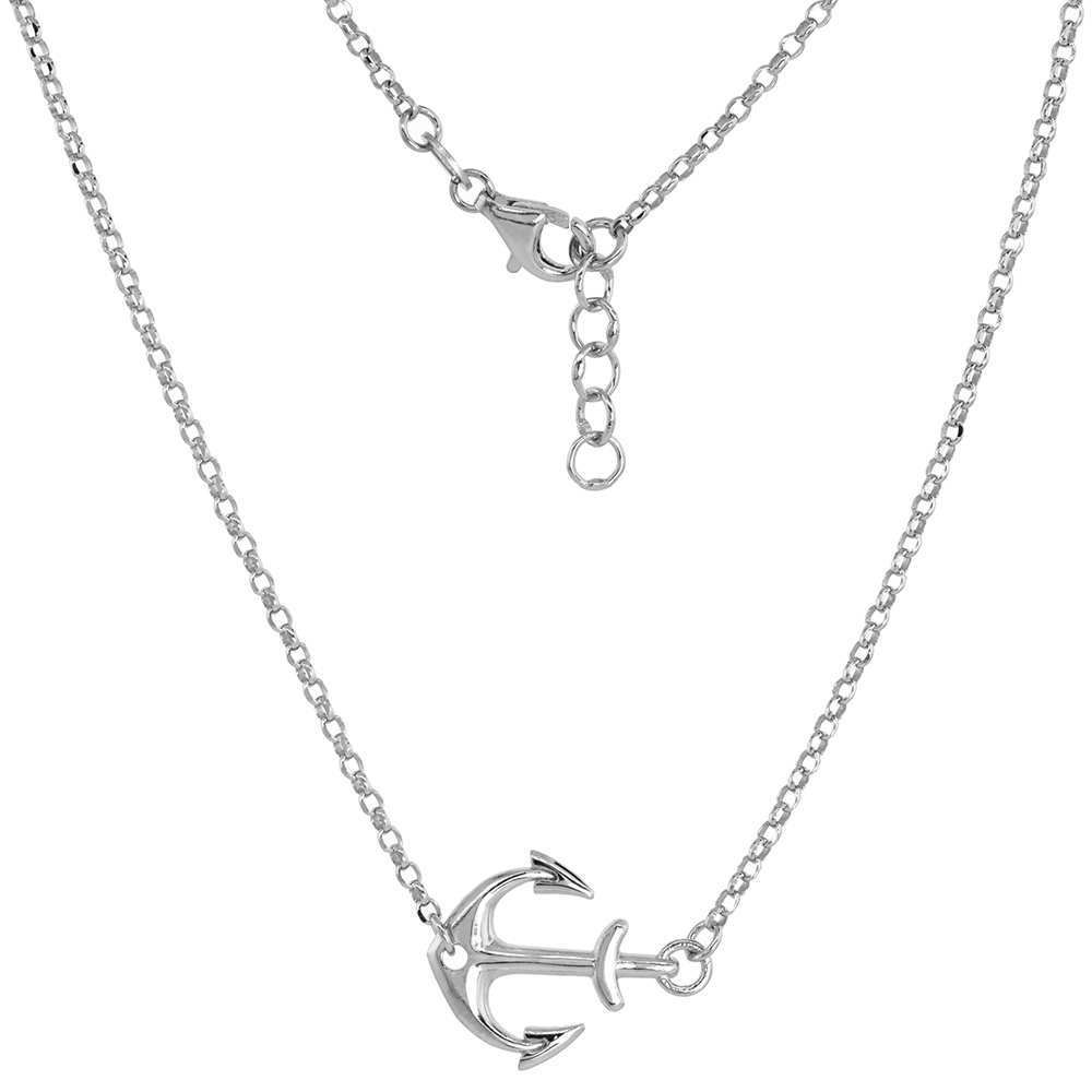 Sterling Silver Sideways Anchor Necklace and Bracelet Rhodium Finish Italy 3/4 inch
