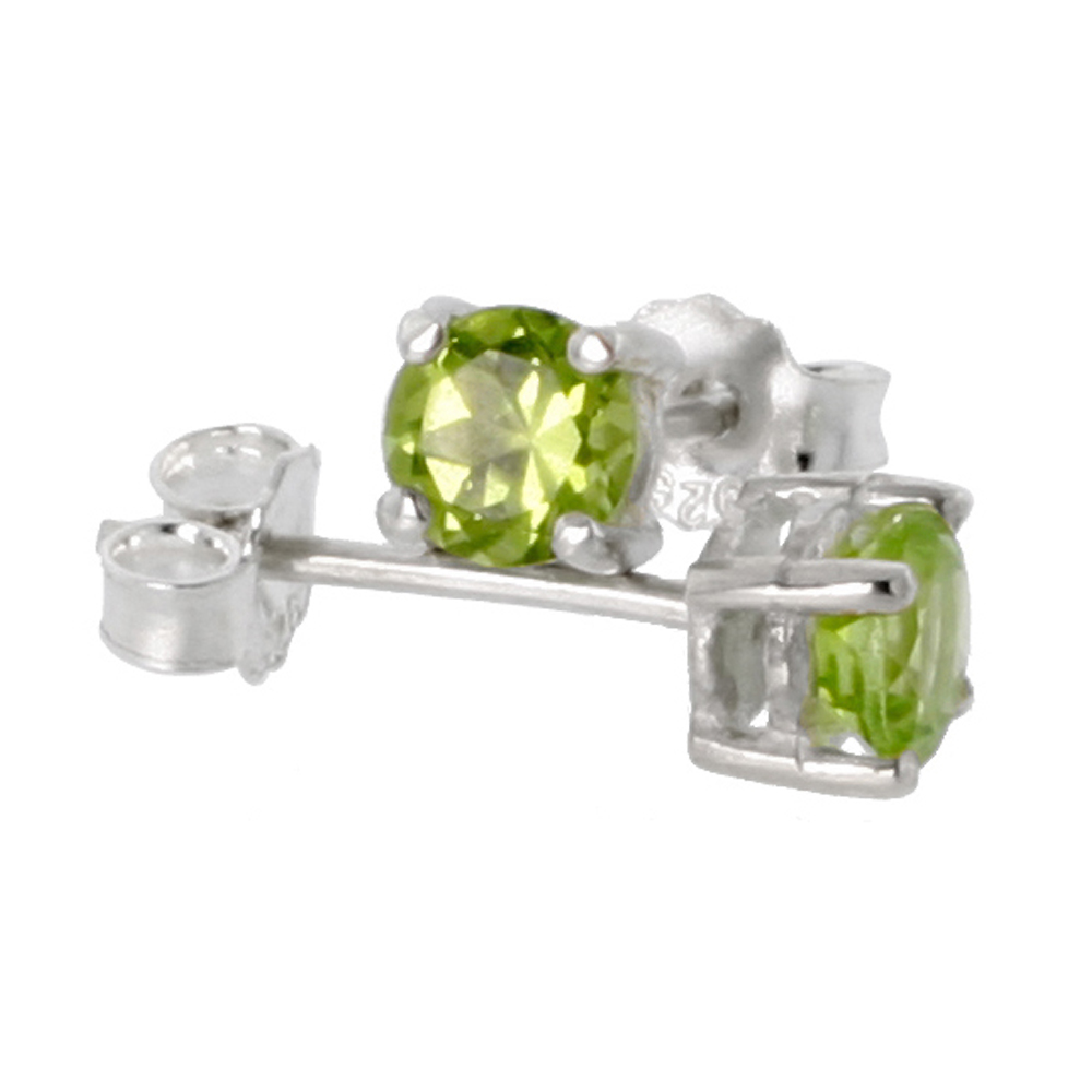 August Birthstone, Natural Peridot 1/4 Carat (4 mm) Size Brilliant Cut Stud Earrings in Sterling Silver Basket Setting