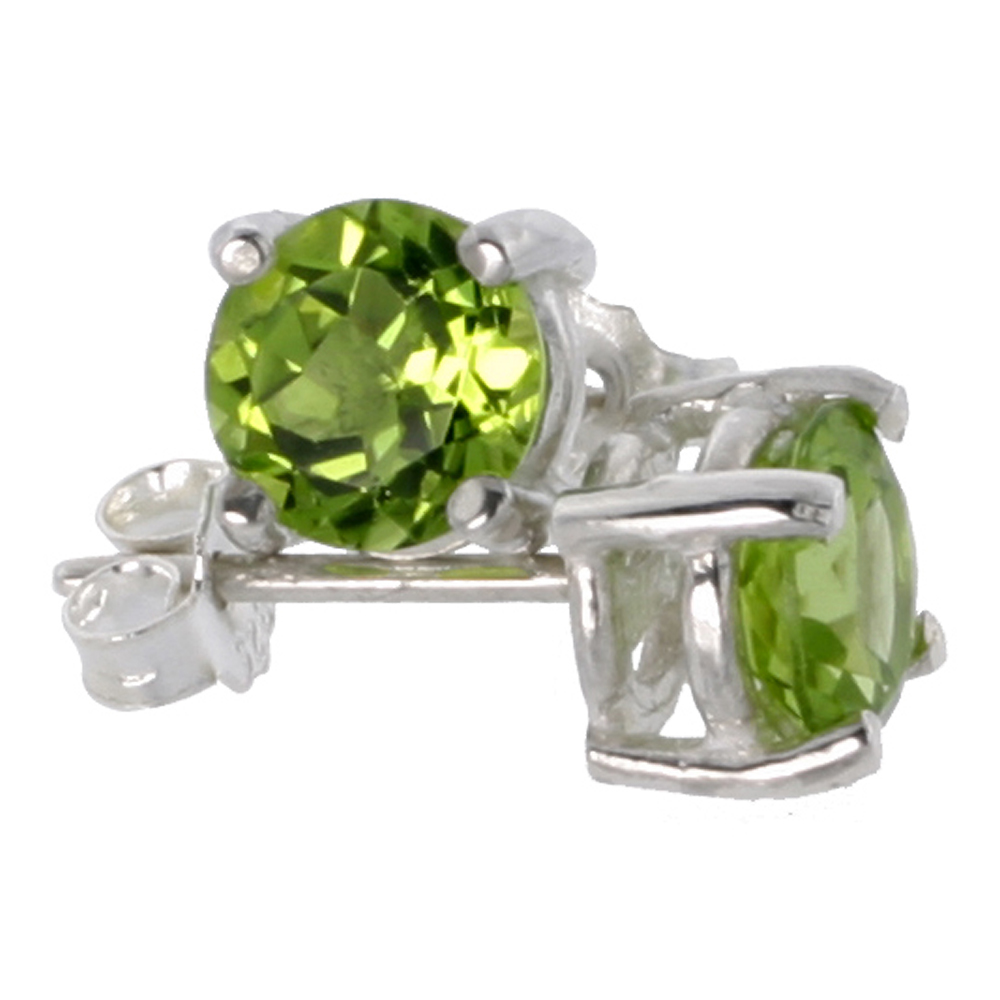 August Birthstone, Natural Peridot 1 Carat (6 mm) Size Brilliant Cut Stud Earrings in Sterling Silver Basket Setting
