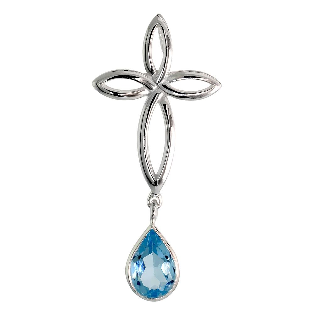 Sterling Silver Genuine Blue Topaz Celtic Cross Knot Pendants Teardrop, 1 3/4 inch long