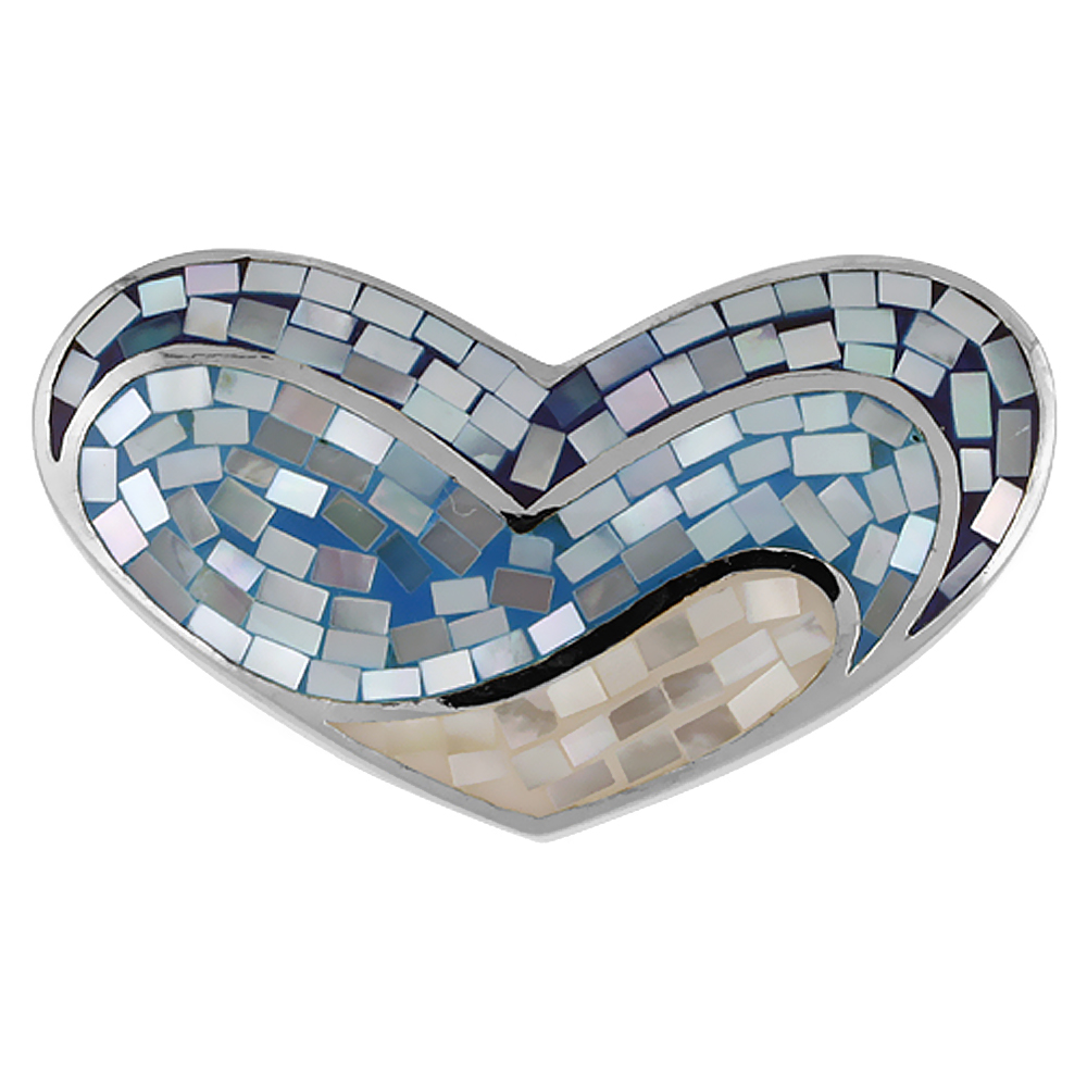 Sterling Silver Natural Shell Mosaic Heart Pendant Blue and White, 1 9/16 inch wide