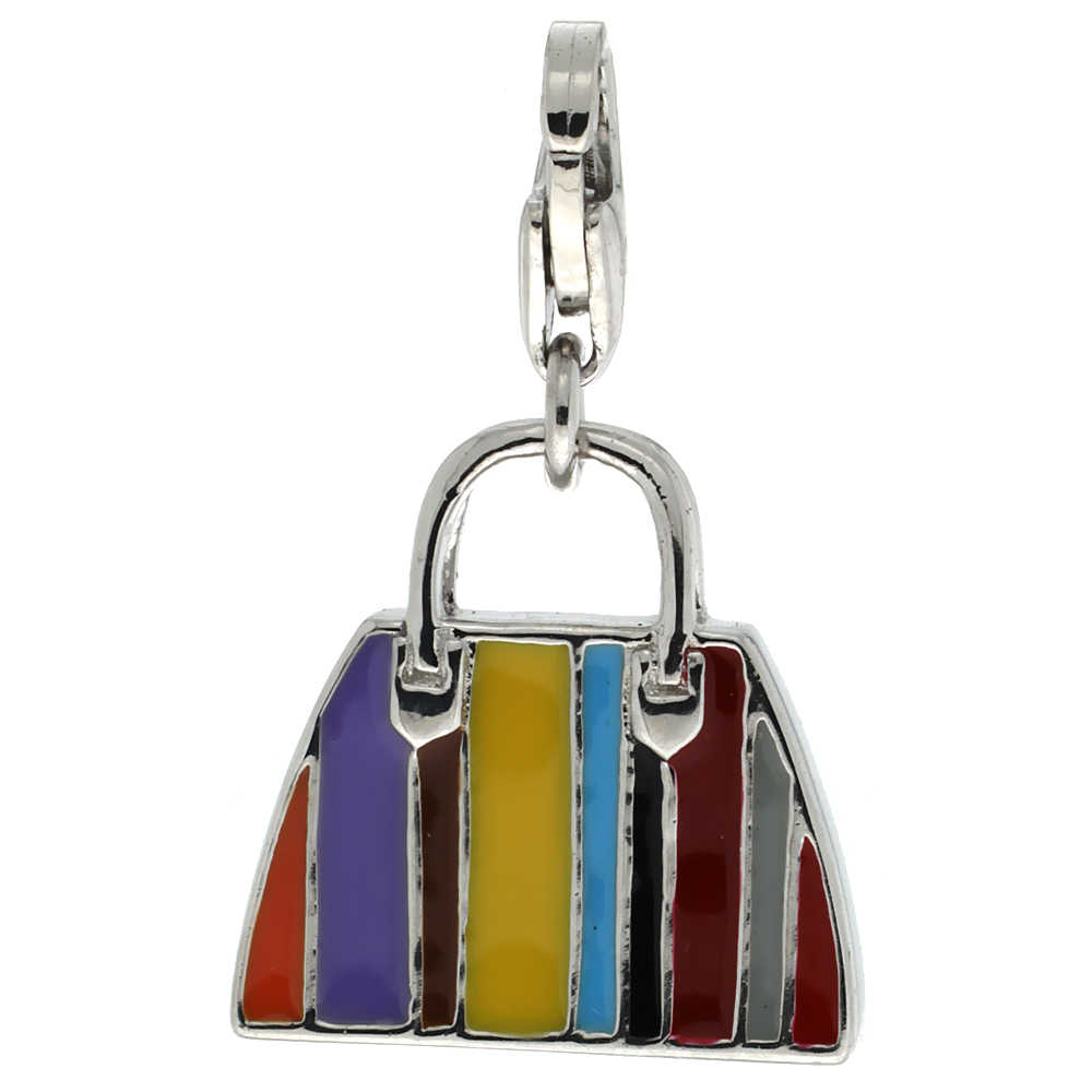 Sterling Silver Multi-Color Hand Bag Purse Charm for Bracelet, 9/16 in. (15 mm) tall, Enamel Finish