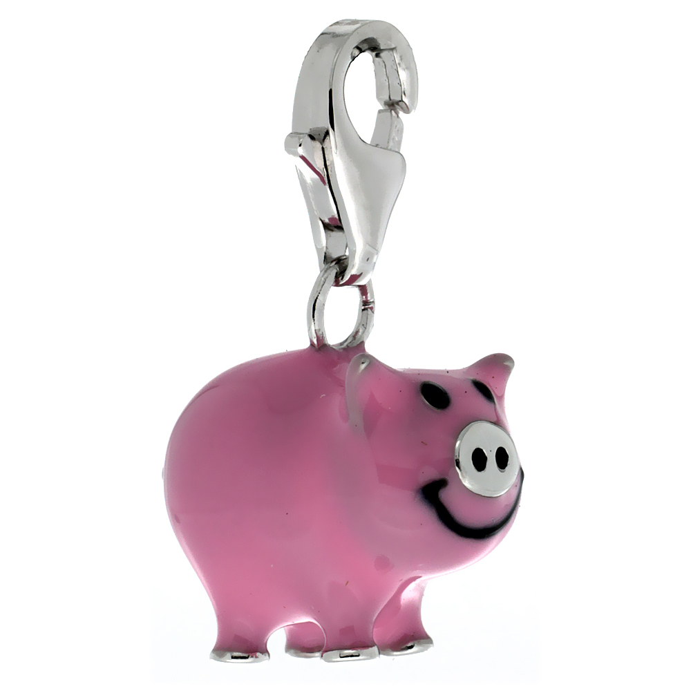 Sterling Silver Pig Piggy Charm for Bracelet, 5/8 in. (16 mm) tall, Pink Enamel Finish