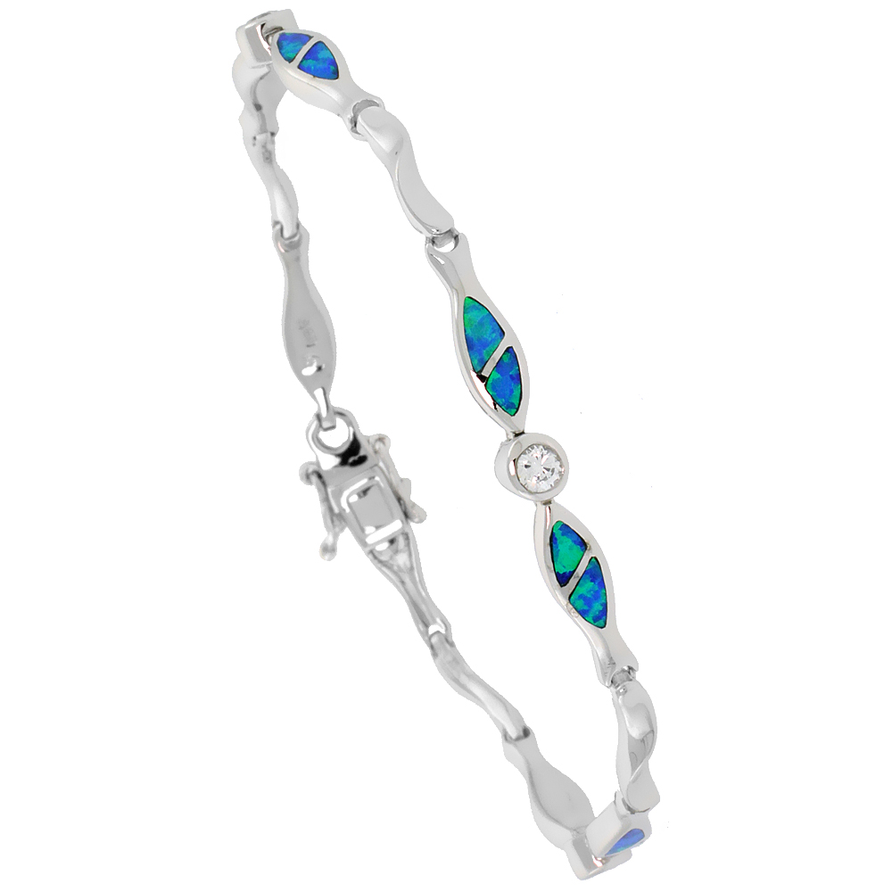 Sterling Silver Christian Fish Bracelet with Synthetic Opal inlay & CZ stone, 7 1/4 inch long