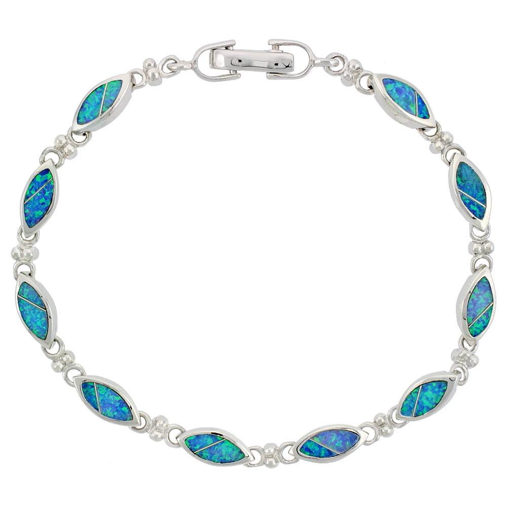 Sterling Silver Synthetic Opal Navette Shaped Link Bracelet, 7 1/4 inch long