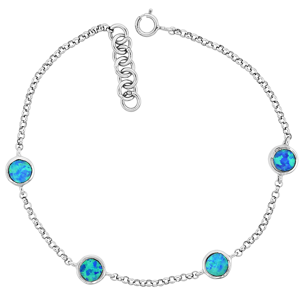 Sterling Silver Synthetic Opal Station Bracelet Round Links fits 6.5 -Hand Inlay 7.25 inches