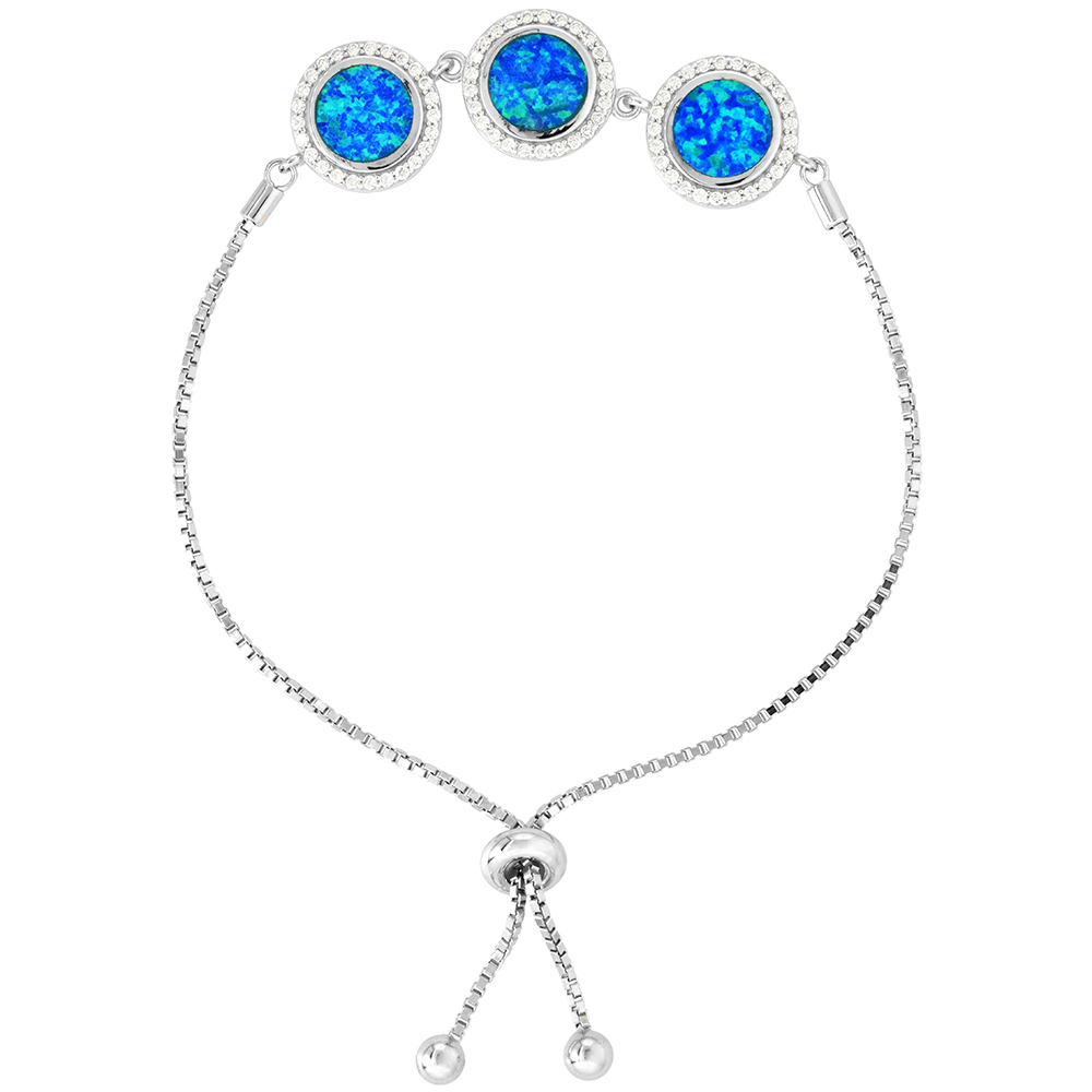 Sterling Silver Synthetic Opal Bracelet Women 3 Linked Circles with CZ Halo Adjustable Clasp 7 - 8 inch