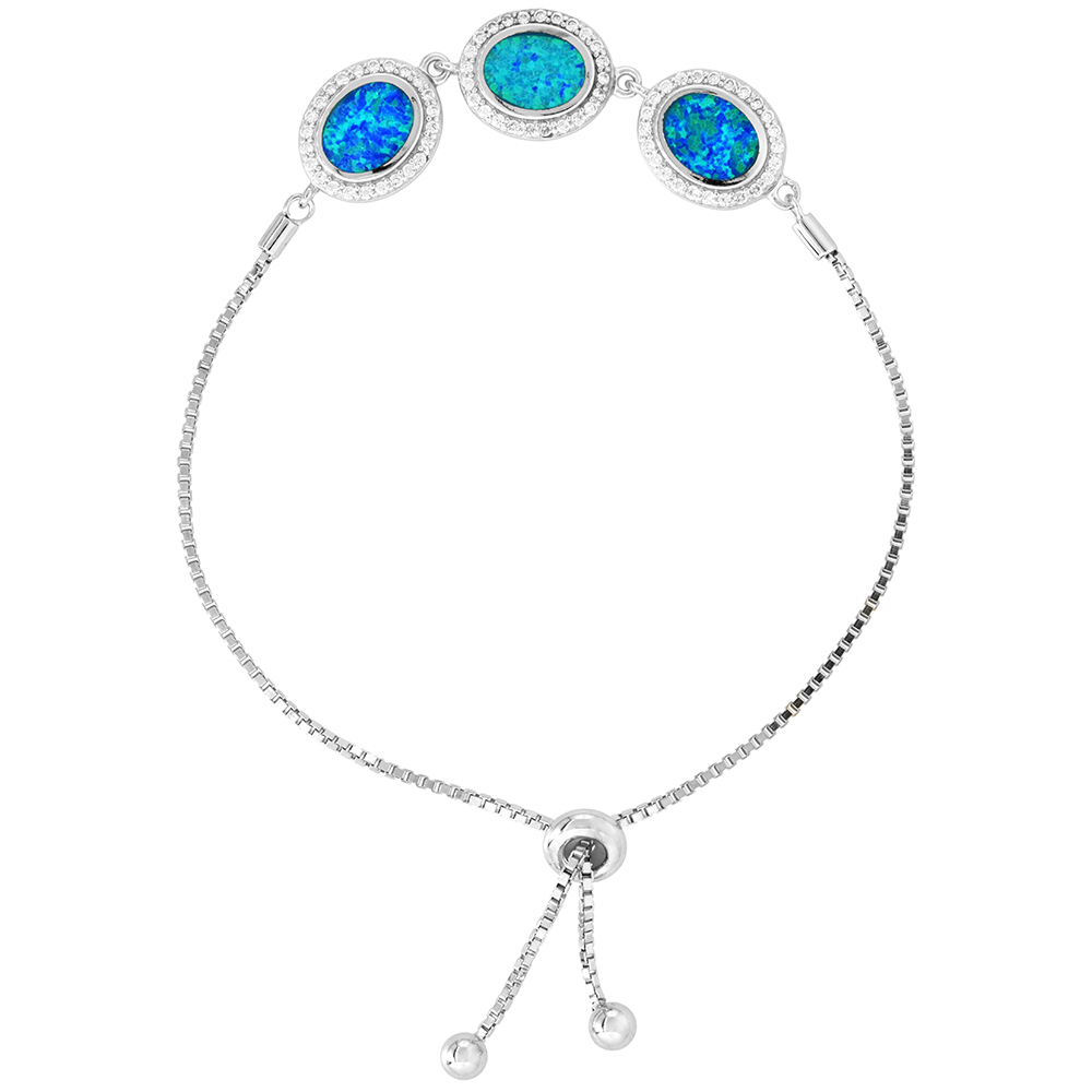 Sterling Silver Synthetic Opal 3-Oval Links Bolo Bracelet CZ Halo Women Sliding Clasp fits 6-7 inch wrists
