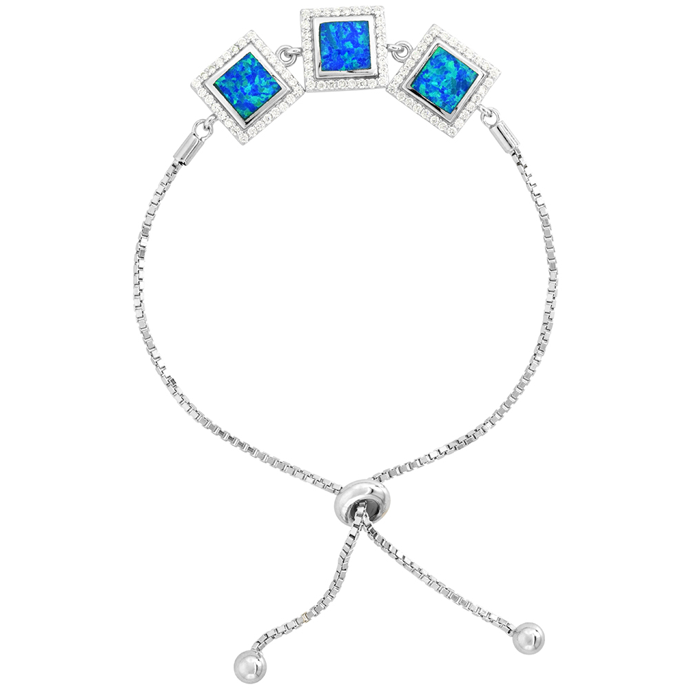 Sterling Silver Synthetic Opal Bracelet Women 3 Square Links CZ Halo Adjustable Clasp 7 - 8 inch