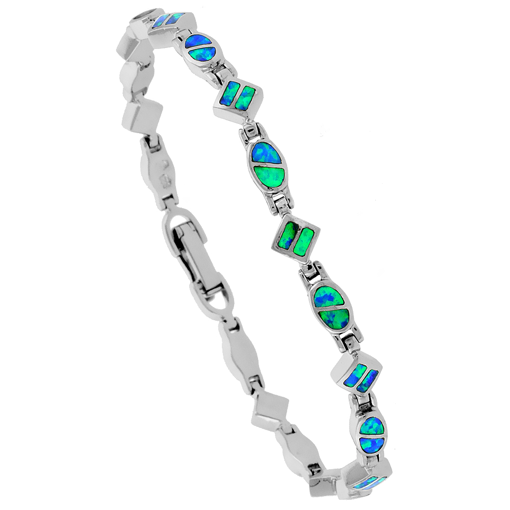 Sterling Silver Dainty Synthetic Opal Bracelet oval and Square Links, 7 1/4 inch long