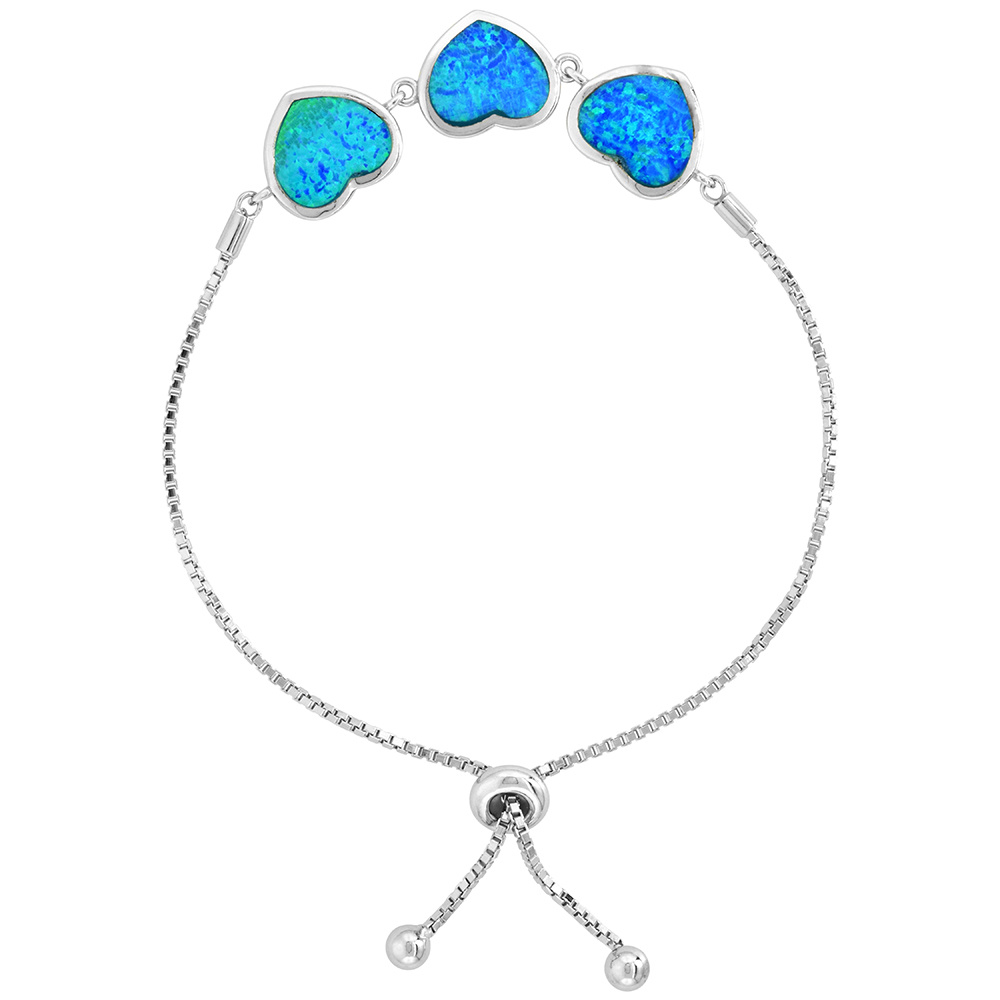 Sterling Silver Synthetic Opal 3-Linked Hearts Bolo Bracelet for Women CZ Halo Sliding Clasp fits 6-7 inch wrists
