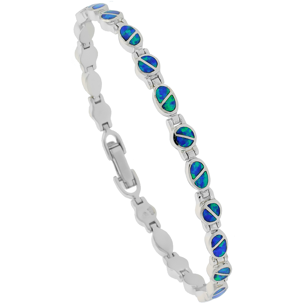Sterling Silver Synthetic Opal Bracelet Oval & Round Links, 7 1/4 inch long