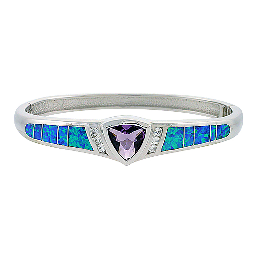 Sterling Silver Bangle Bracelet Synthetic Opal Inlay with 10 mm Trillion Shape Amethyst CZ