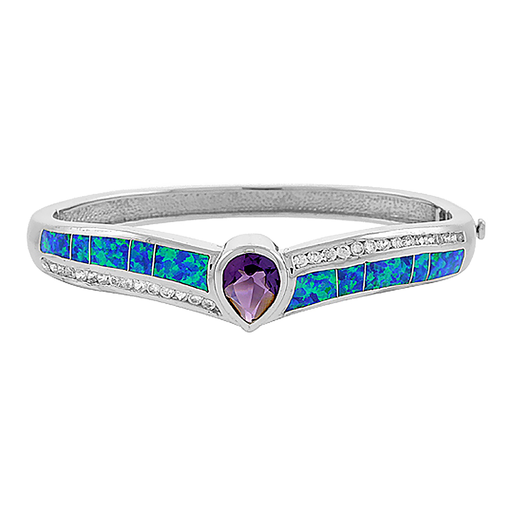 Sterling Silver Bangle Bracelet Synthetic Opal Inlay with 10 mm Teardrop Amethyst CZ