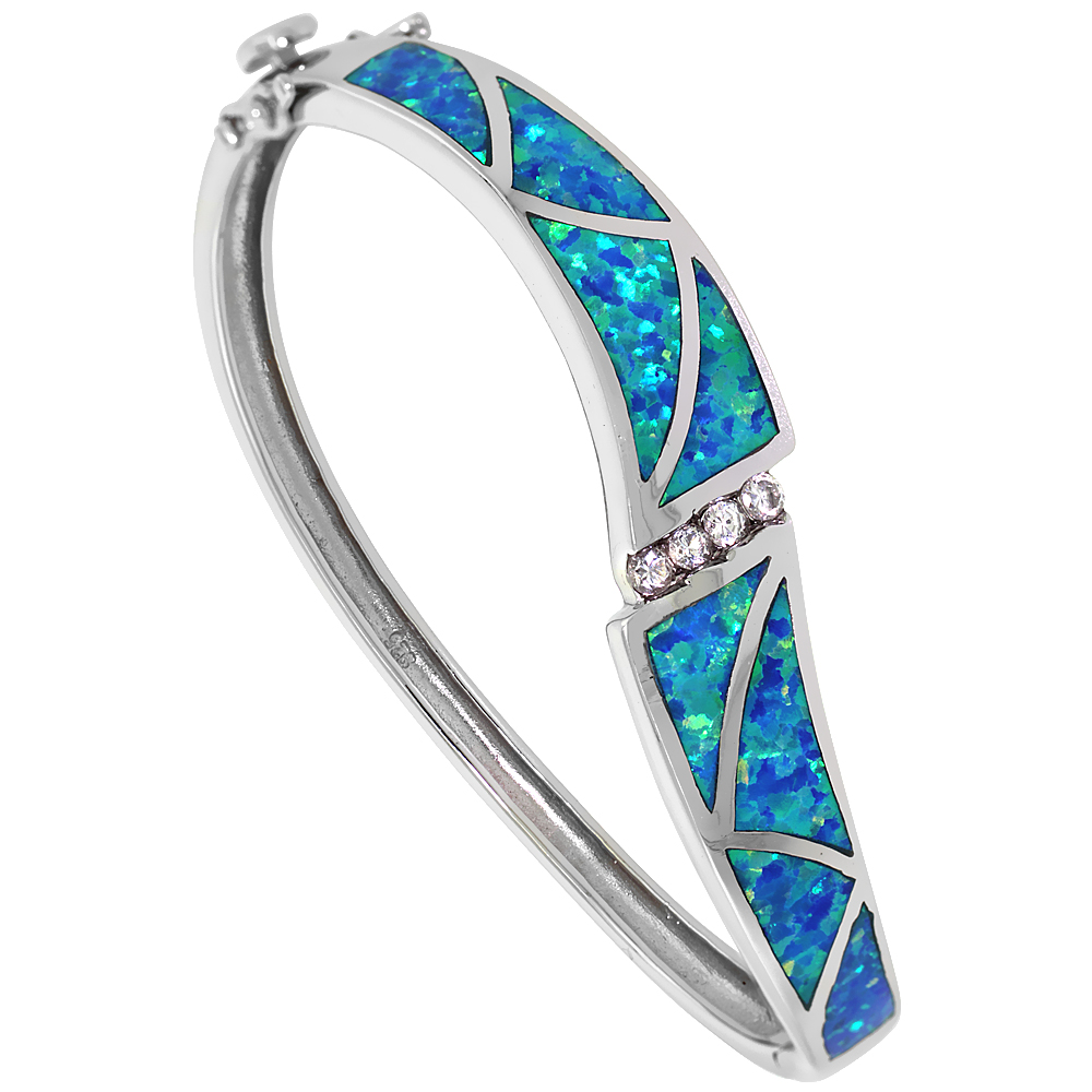 Sterling Silver Bangle Bracelet Synthetic Opal Inlay CZ stones 7/16 inch (11 mm) wide