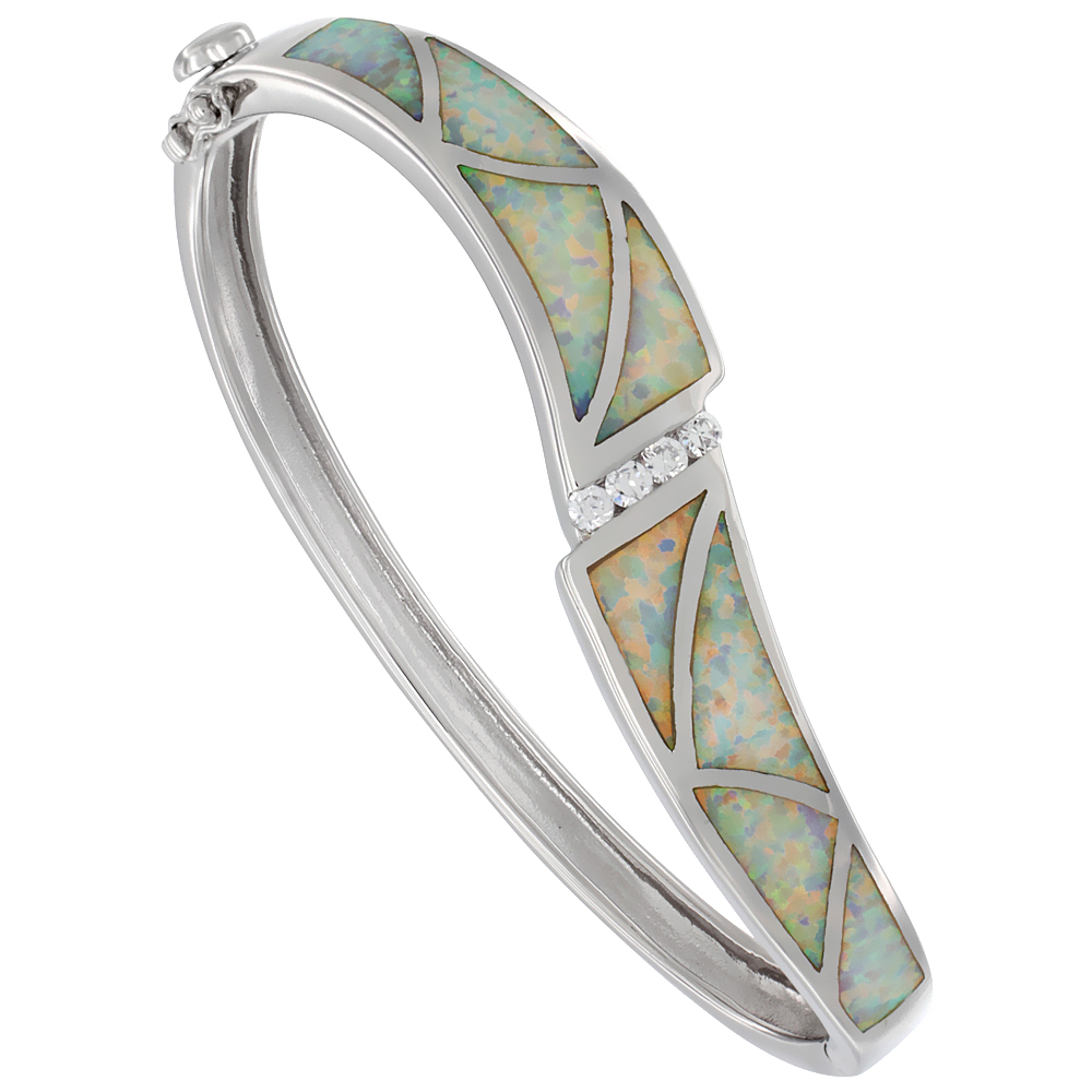 Sterling Silver Synthetic Opal Bangle Bracelet Cubic Zirconia Accent Hand Inlay 7/16 inch