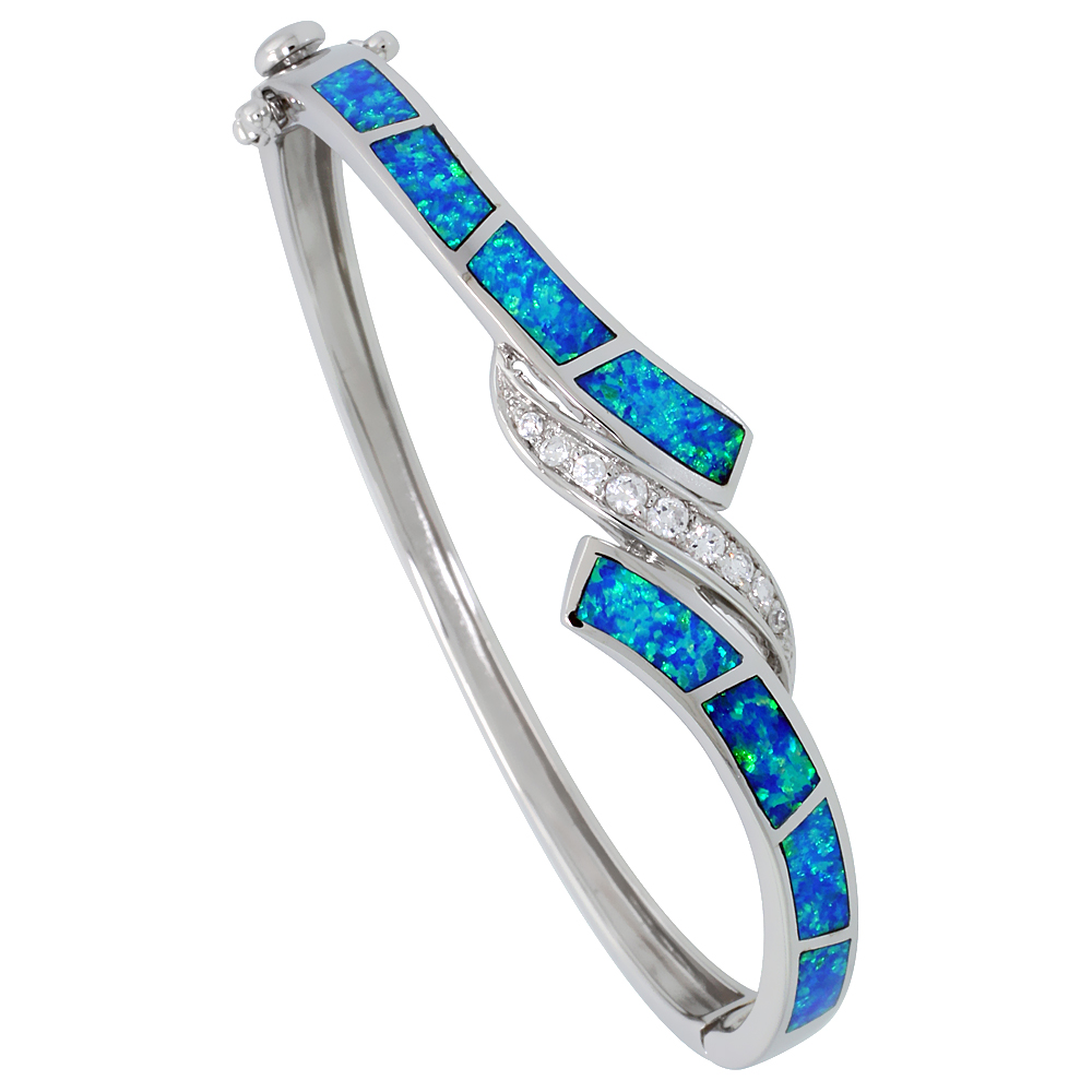 Sterling Silver Bangle Bracelet Synthetic Opal Inlay High Quality Cubic Zirconia Stones 9/16 inch wide