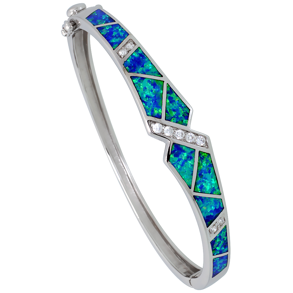 Sterling Silver Bangle Bracelet Synthetic Opal Inlay High Quality Cubic Zirconia Stones 3/8 inch wide