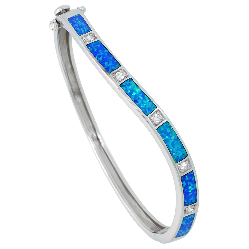 Sterling Silver Bangle Bracelet Synthetic Opal Inlay High Quality Cubic Zirconia Stones 3/16 inch wide