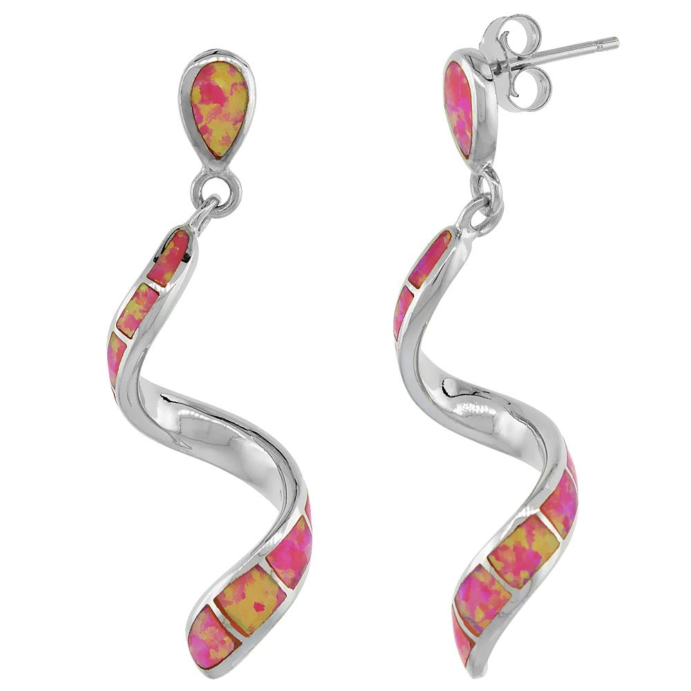 Sterling Silver Swirl Earrings Synthetic Pink Opal Inlay