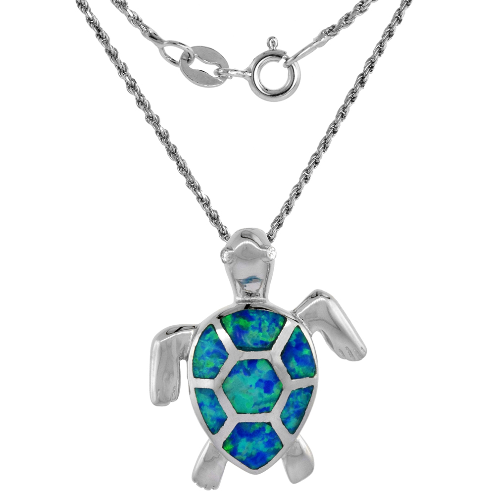 Sterling Silver Synthetic Opal Sea Turtle Necklace for Women CZ Eyes Hand Inlay 7/8 inch