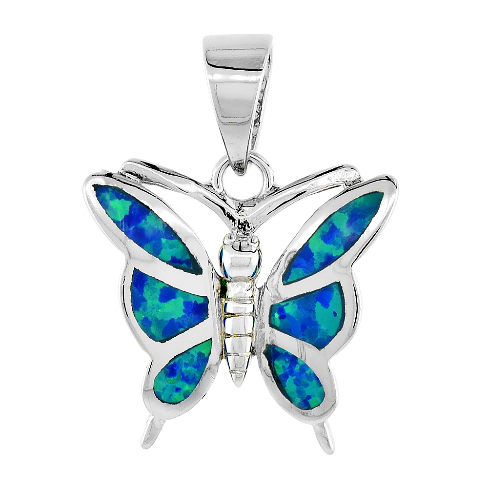 Sterling Silver Butterfly Pendant Synthetic Opal Inlay, 5/8 inch
