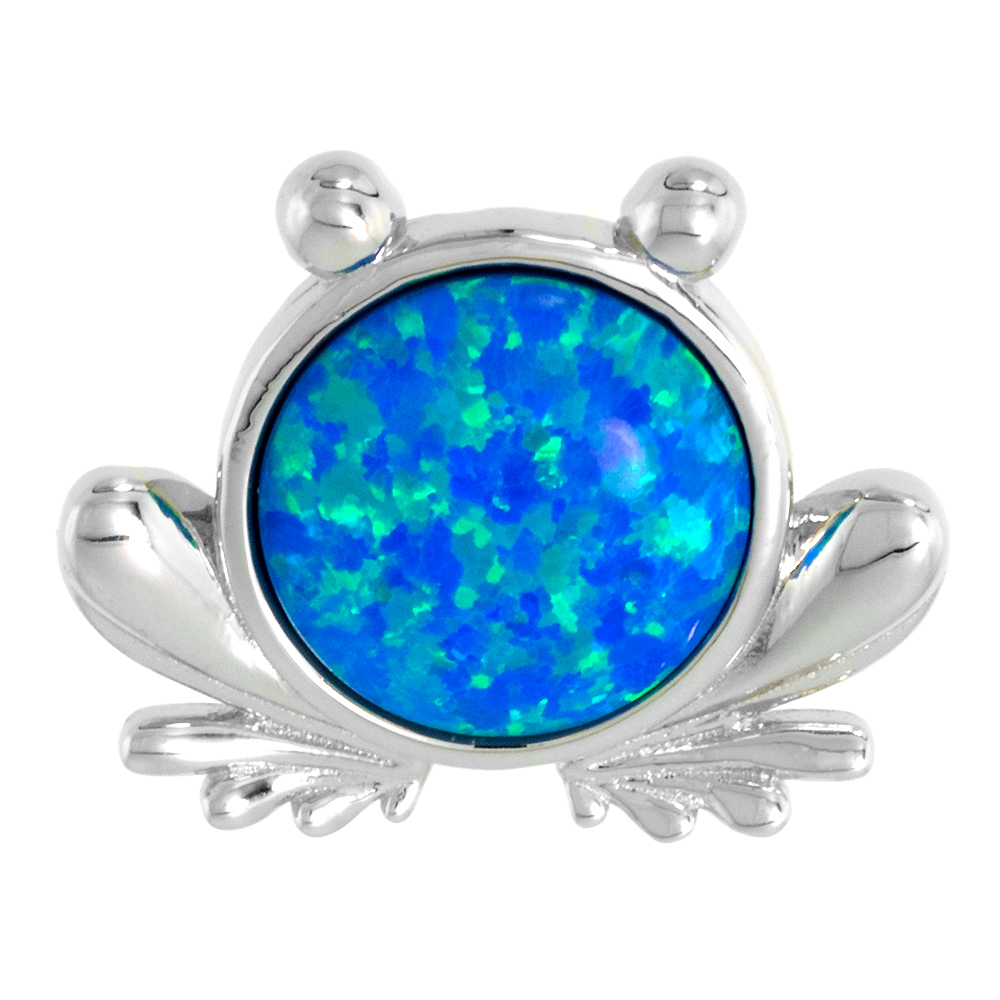 Sterling Silver Synthetic Opal Frog Necklace for Women 11mm Round Cabochon 11/16 inch w/ 1mm Rope Chain