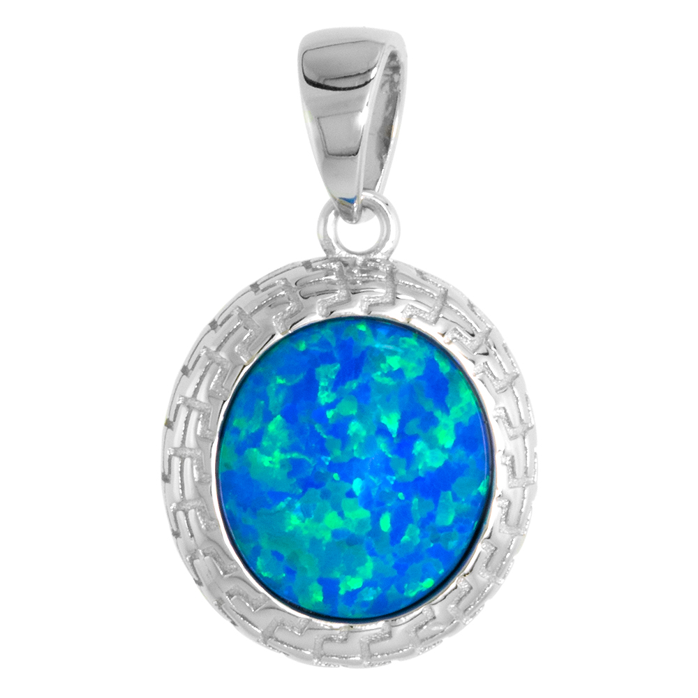 Sterling Silver Synthetic 10mm Round Cabochon Opal Necklace Women Engraved Bezel 5/8 inch w/ 1mm Rope Chain