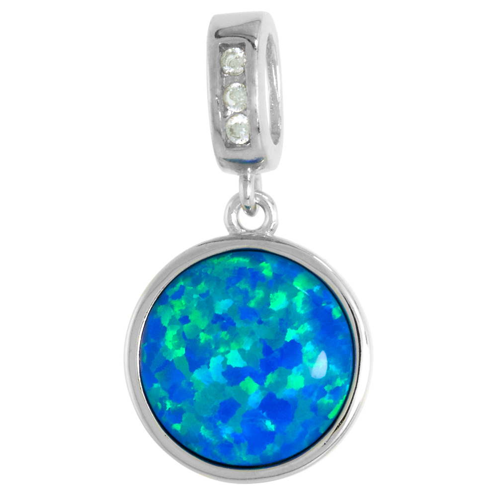 Sterling Silver Synthetic 12mm Round Cabochon Opal Necklace for Women CZ Bail 1/2 inch w/ 1mm Rope Chain