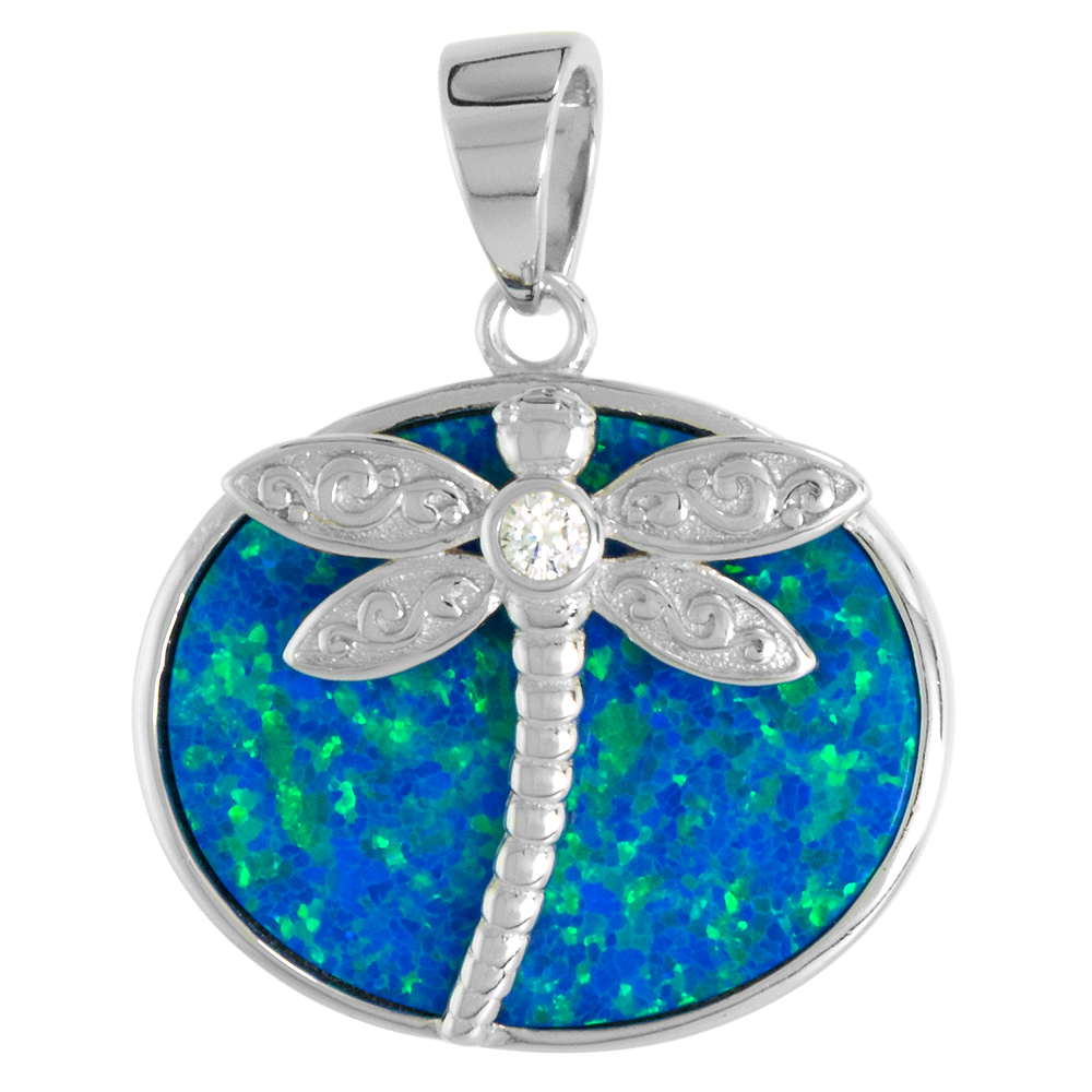 Sterling Silver Synthetic Opal Dragonfly Necklace Women 19x15mm Oval Inlay CZ Accent 11/16 inch w/ 1mm Rope Chain
