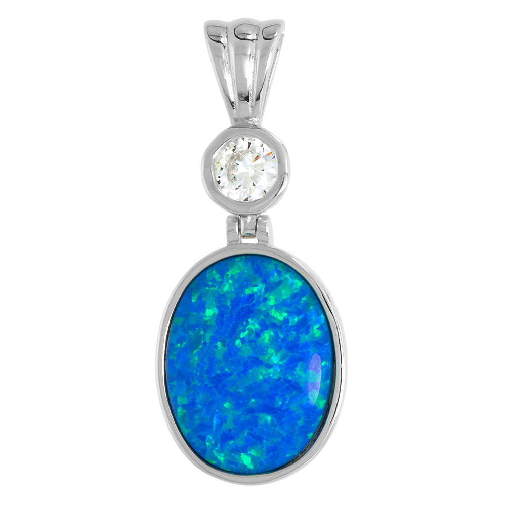 Sterling Silver Synthetic 15x13mm Oval Cabochon Opal Necklace for Women CZ Bale 1 inch w/ 1mm Rope Chain