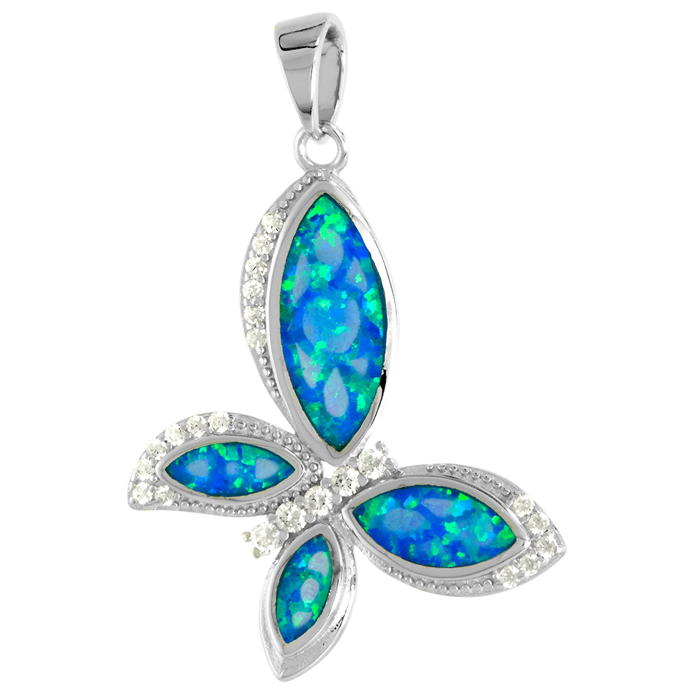 Sterling Silver Synthetic Opal Sideway Butterfly Necklace Women CZ Accent 1 1/8 inch w/ 1mm Rope Chain