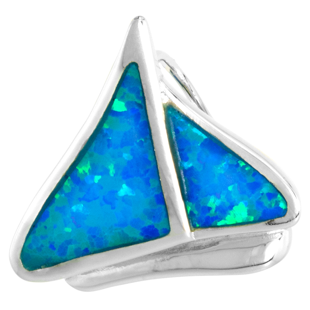 Sterling Silver Synthetic Opal Sailboat Necklace for Women Slide Bale 3/4 inch w/ 1mm Rope Chain