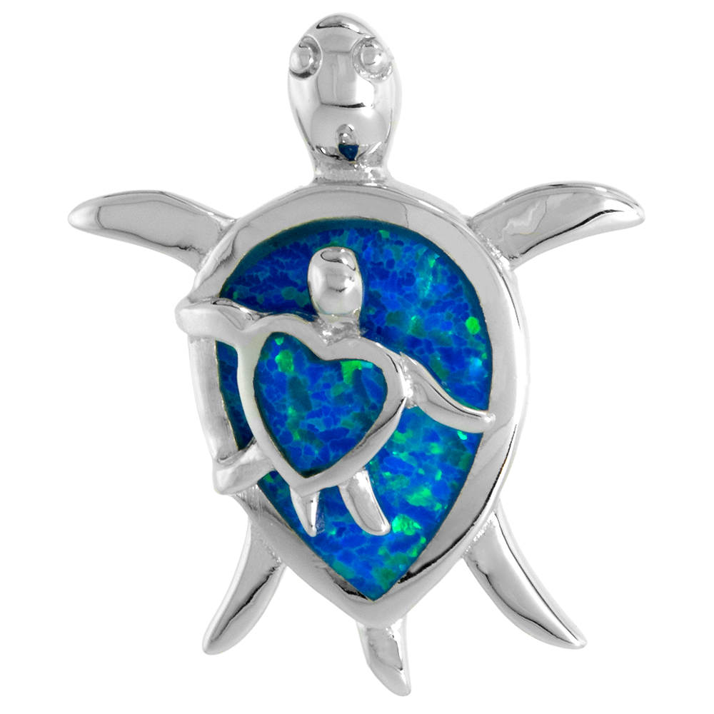 Sterling Silver Synthetic Opal Mother /& Baby Sea Turtle Necklace Women Heart Body 1 inch w//Rope Chain