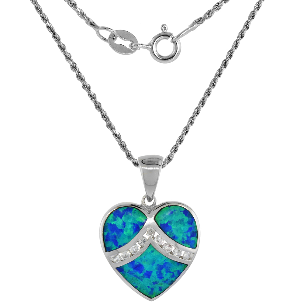 1 3//8 inch Sterling Silver 3-Stone Pendant Synthetic Opal Mother of Pearl Inlay
