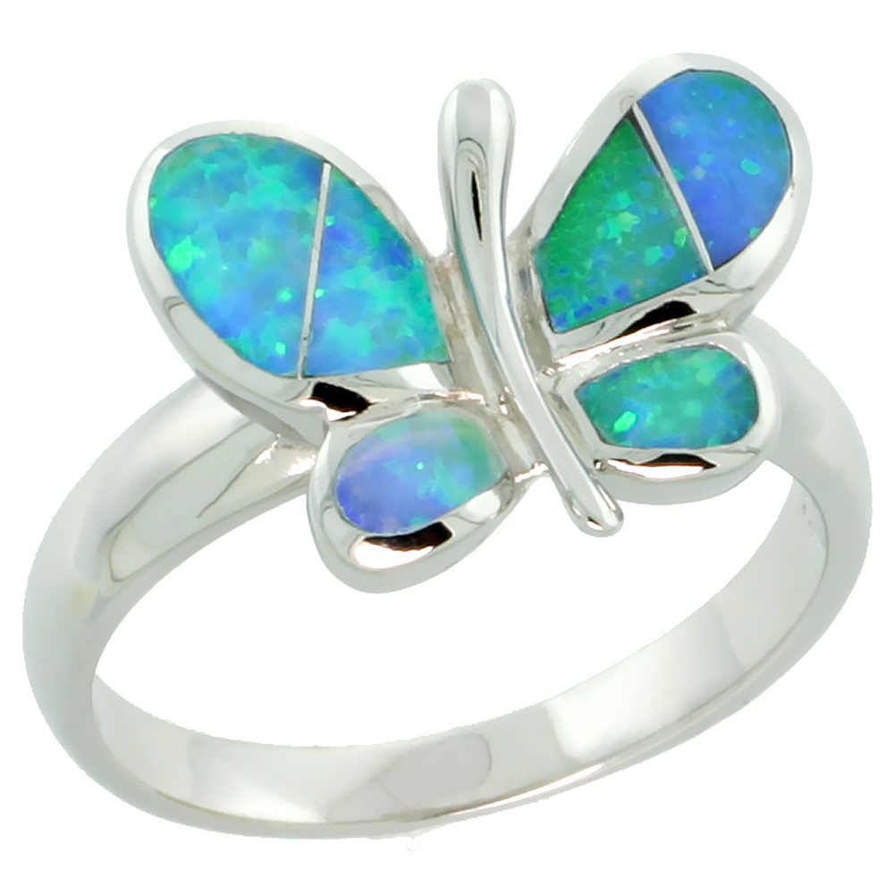Sterling Silver Synthetic Blue Opal Butterfly Ring, 7/16 inch