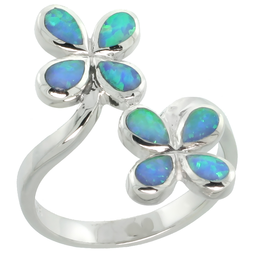 Sterling Silver Synthetic Blue Opal Floral Ring, 13/16 inch