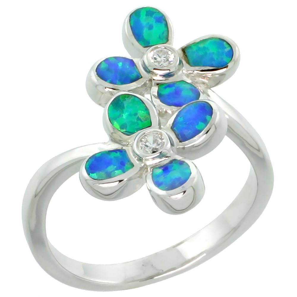 Sterling Silver Synthetic Blue Opal Floral Ring Cubic Zirconia Accent, 11/16 inch