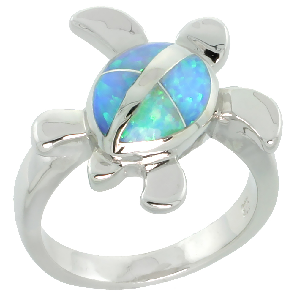 Sterling Silver Synthetic Blue Opal Sea Turtle Ring, 5/8 inch