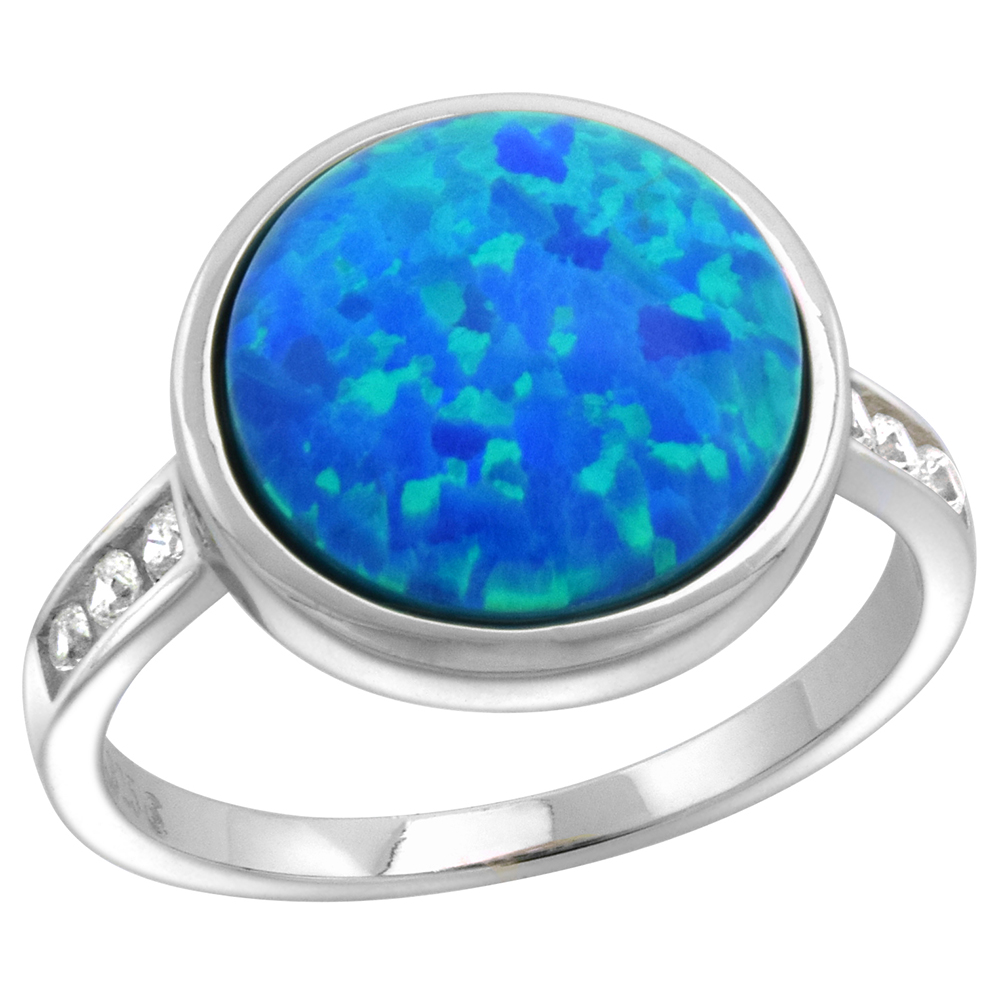 Sterling Silver Synthetic Opal Round Cabochon Ring for Women 1/2 inch round sizes 6-9