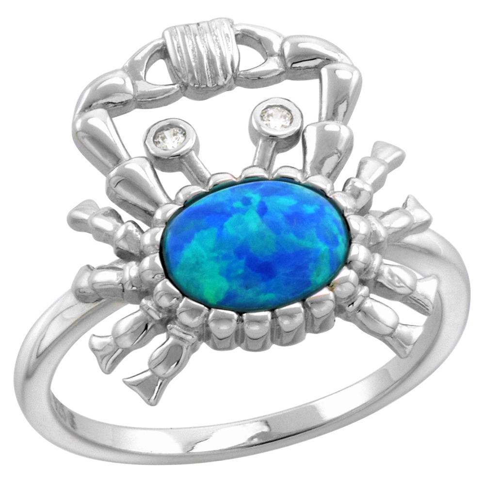 Sterling Silver Synthetic Opal Crab Ring for Women CZ Eyes 5/8 inch wide sizes 6-9